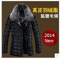 2015 nuevos hombres de marca casual chaqueta de cuero de down capa larga abrigo de plumas de piel de zorro chaqueta de cuero del collar 90% de pato blanco abajo