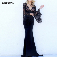 LASPERAL 2017 Black Lace Long Sexy Dress Deep V Neck Flare Bell Long Sleeves Party Wedding