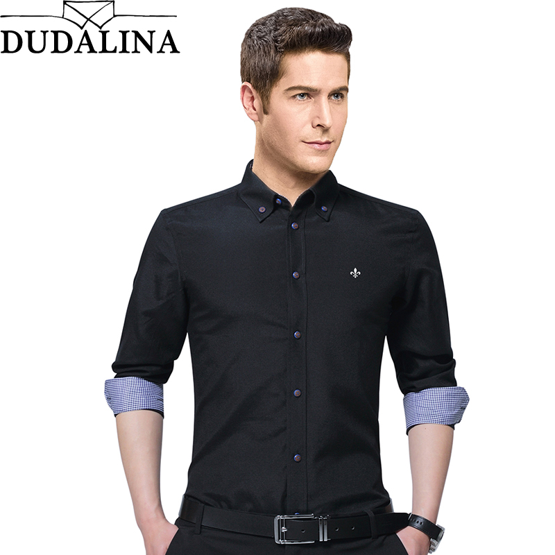 Dudalina Shirt Men New Design 2019 Spring Button Collar Long Sleeve Casual Shirts Oxford Breathable Slim Fit Male Top Men Shirt
