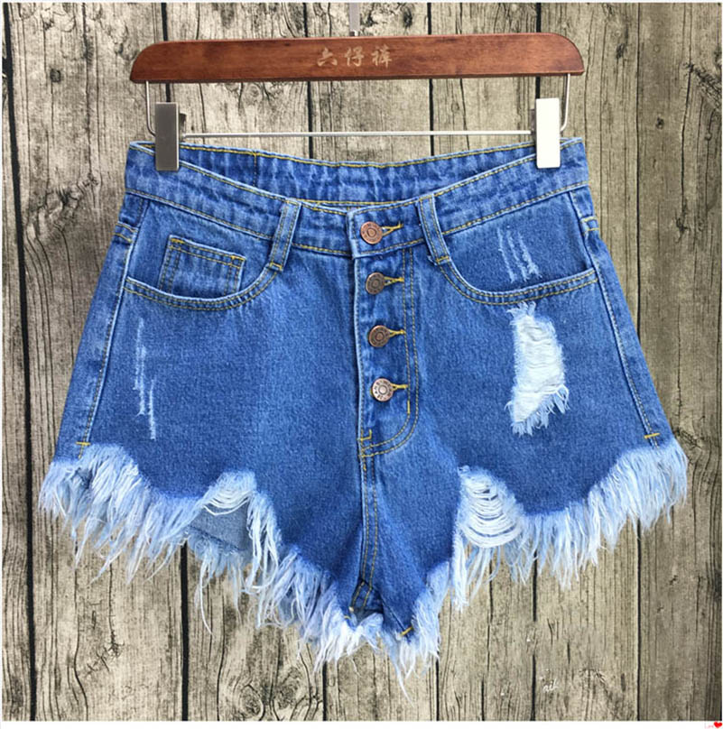 NiceMix 2019 European and American BF Summer Wind Female Blue High Waist Denim Shorts Women Worn Loose Burr Hole Jeans Shorts in Shorts from Women 39 s Clothing
