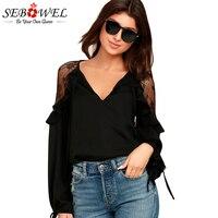 2016 Rhinestone Long Sleeve Sexy Top See Through Black Female T Shirts For Women Long Sleeve