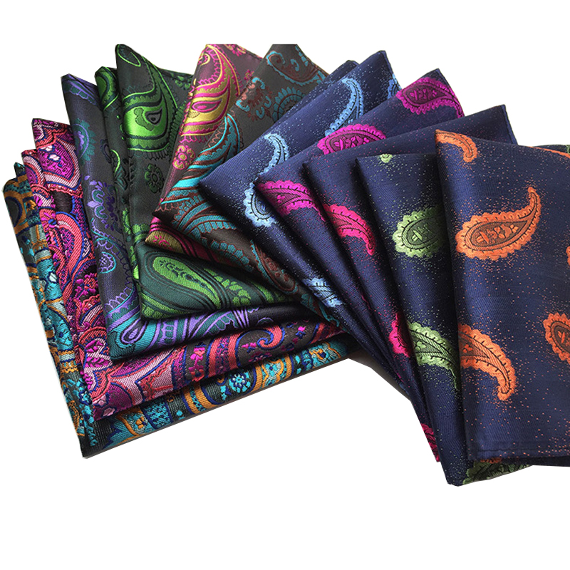 Gusleson Vintage Men'S Paisley Handkerchief Floral Pocket Square Business Chest Towel Hanky Gentlemen 25*25Cm Suit Hankies