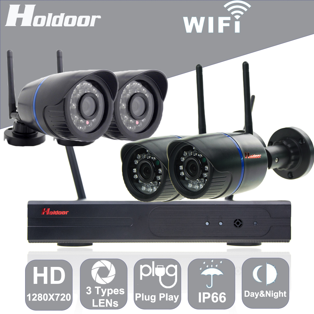 Holdoor 4CH WiFi Wireless NVR Kit Home Security System 720P mix Lens Network Camera Wire Network Waterproof IP65 Night Vision