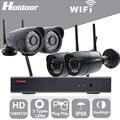 Holdoor Kit NVR 4CH WiFi Inalámbrico Sistema de Seguridad Casero 720 P mix Lente Cámara de Red Cable de Red A Prueba de agua IP65 Noche visión