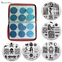 1 Pcs 240Slots Nail Stamping Plates Holder Case 10 Pcs 5 5cm Dancer Love Style Round