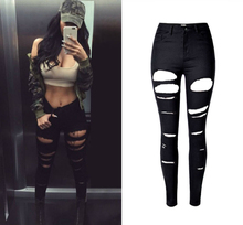 2016 High Quality Robek Skinny Ripped Jeans Women High Waist Slim Black Jeans Mujer Vintage Sexy Hip Hop Push Up Denim Feminina