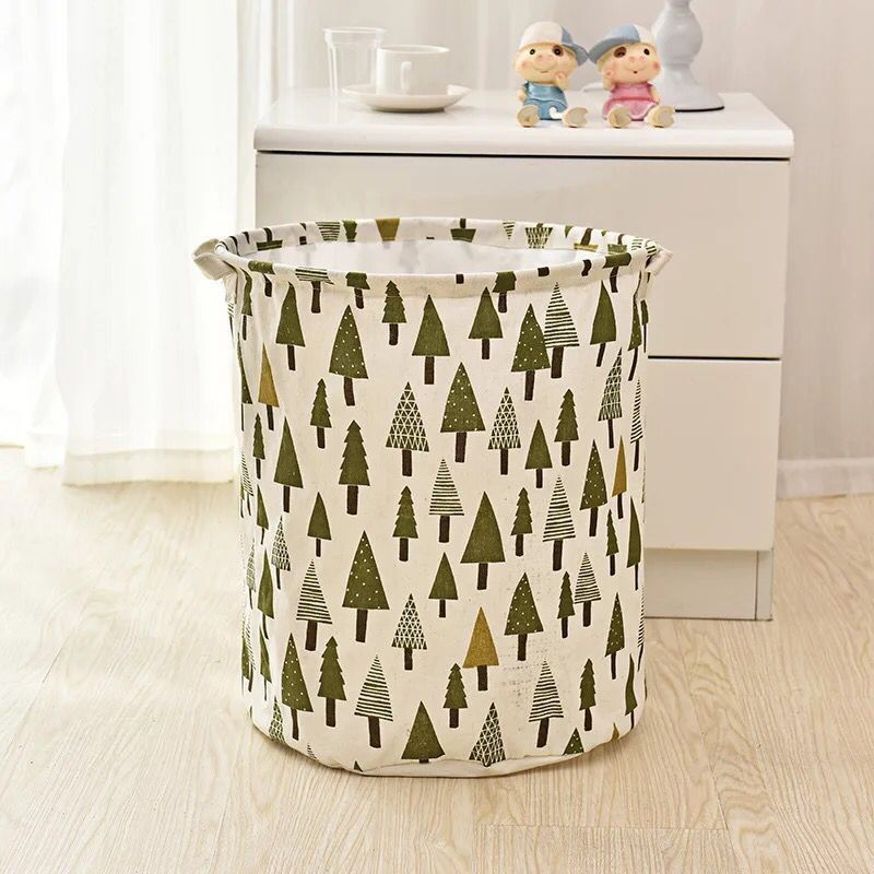 Concise Design Brand New Wash Bag Foldable Cotton Linen Washing Laundry Basket Bag Folded Dirty Clothing Bucket