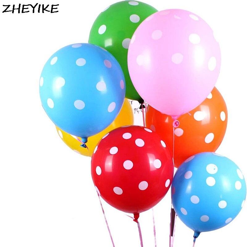 ZHEYIKE 5/12 дюймов сгущенные воздушные шары Свадебные точечные латексные волнистые Воздушные шары День рождения Свадьба Декор баллон Вечеринк...
