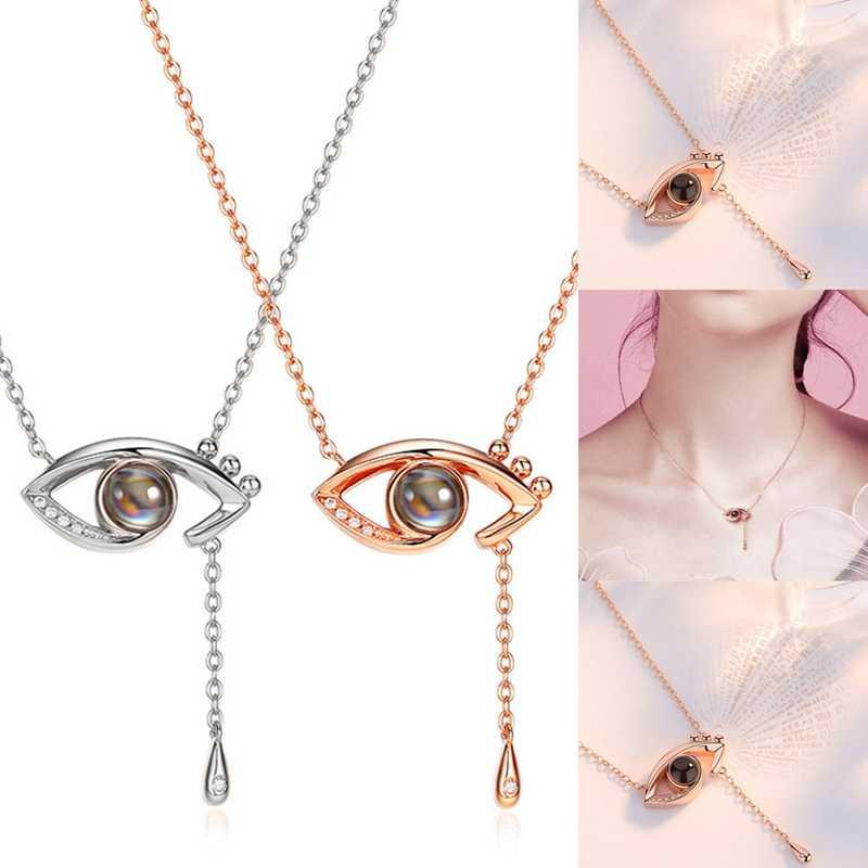 Or Rose & argent 100 langues I love you collier pendentif de Projection romantique amour mémoire collier de mariage forme des yeux
