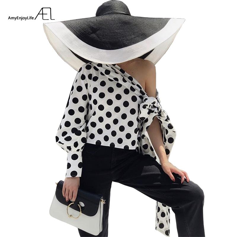 AEL hors épaule pente à manches longues haut 2018 femmes Sexy mode unique manches Blouse femme noir à pois hauts vacances décontracté