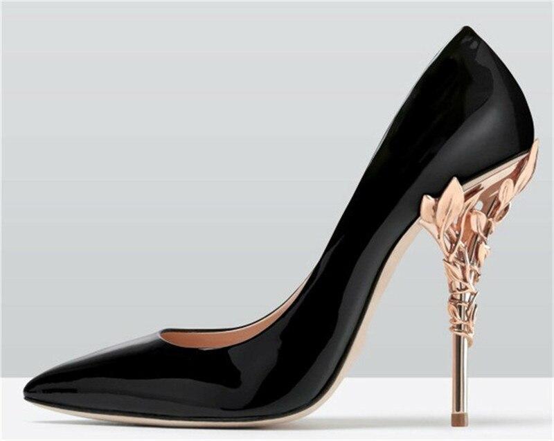 Décor As Pompes Parti Pointu Sexy Or De Mariage Pic Femmes Bout Feuilles Femme Métal Satin Soie Banquet Chaussures Stiletto as 19ss Talon Pic Haute qStRqw