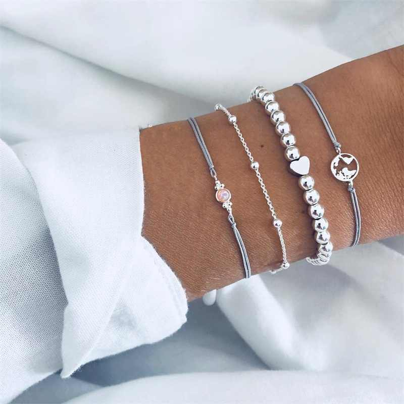 4 Pcs/ Set Exquisite Hollow Map Heart Bead Gem Chain Leather Woven Silver Bracelet Set Women Personality Valentines Day Gift