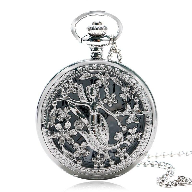 Elegant Cute Mermaid Princess Necklace Silver Hollow Flower Quartz Pocket Watch Half Hunter Pendant Gift For Women Girl Lady