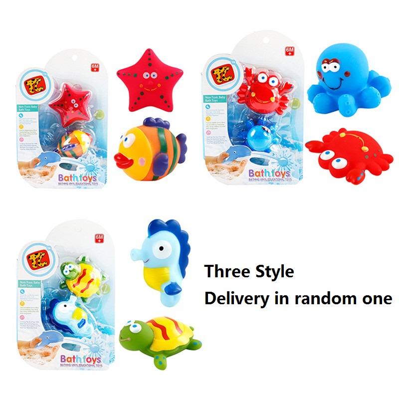 Marine life Baby Bath Toy Floating Soft Rubber Water Squeeze Children Playing Toys - Delivery in Random One