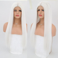 White Lace Front Wigs Natural Hairline Half Hand Tied Straight Synthetic Wigs for Women Heat Resistant Lace Front Wig
