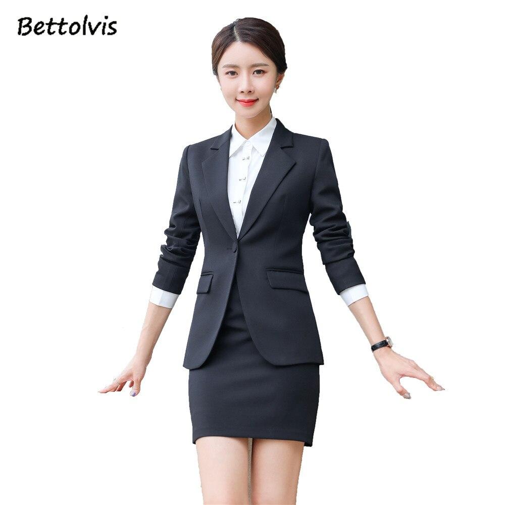 2019 printemps automne femme travail porter blazer à manches longues avec jupe S-4XL noir gris foncé jupe costumes tr