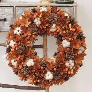 Image 1 - Декор урожая сельский дом венок природа цветы хлопок дерево деревенский осенний Декор висящий передний дверной венок День благодарения венок