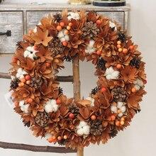Ernte Decor Bauernhaus Kranz Natur Blumen Baumwolle Holz Rustikalen Herbst Dekoration Hängen Front Tür Kranz Thanksgiving Kranz