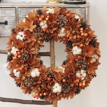 Zbiorów wystrój dom wieniec natura kwiaty bawełna drewno rustykalne jesień dekoracje wiszące wieniec drzwi przednie święto dziękczynienia wieniec