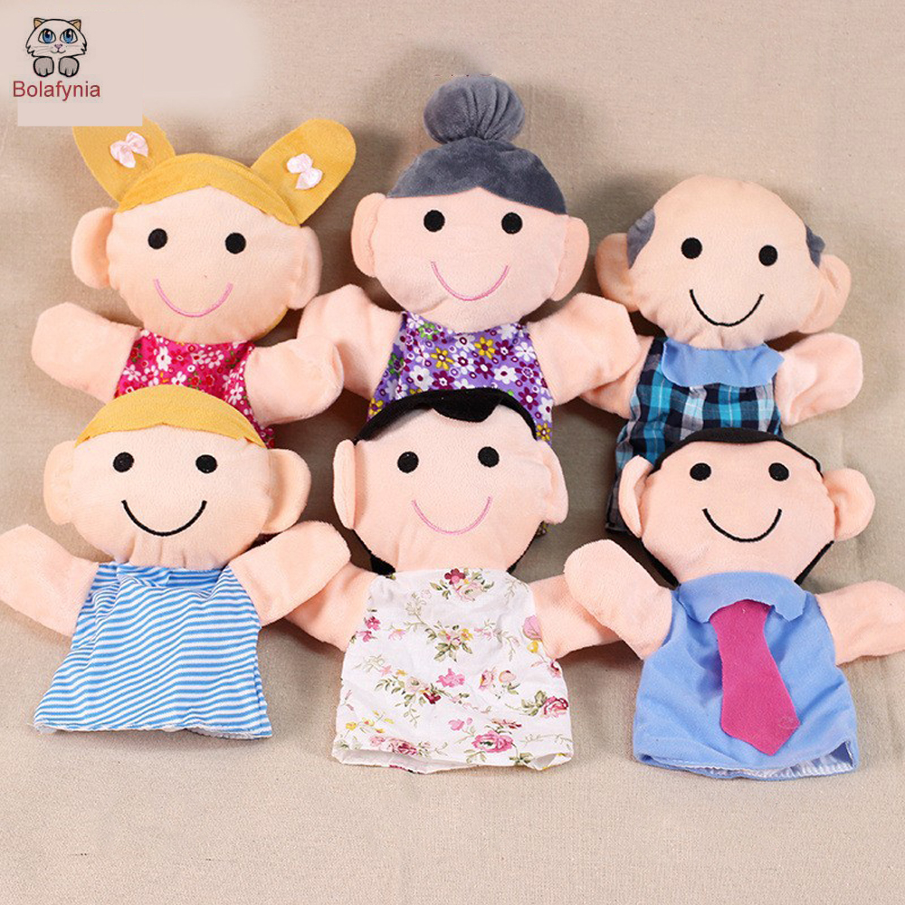 Grandparents mom dad family members Children Hand Puppet kids doll baby plush Stuffed Toy Puppets toys Christmas birthday gift-in Puppets from Toys & Hobbies