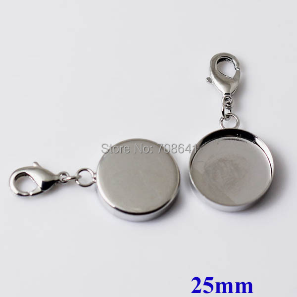 New Rhodium tone Plated Blank Bases 25mm Round Deep Wall Bezel tray w Lobster Clasps Pendant