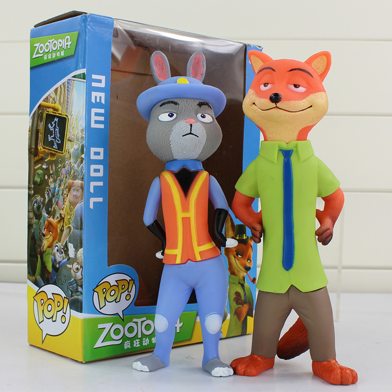 Cartoon Movie Zootopia Animal Toys 1Judy Rabbit +1 Nick PVC Figures Dolls With Box Kids Toys Gifts 2016 zootopia figures keychain ring toys doll set 2016 new cartoon animal abbit judy hopps nick fox