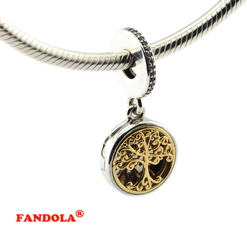 Convient au Bracelet Pandora de vraies racines familiales avec CZ clair authentique 925 bijoux à breloques en argent Sterling FL448K