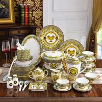Tableware coffee set home bone china European luxury cutlery set porcelain dish combination gift Chinese Porcelain Dinnerware