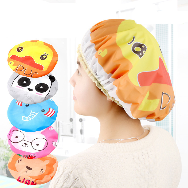 Bathroom:  2pcs! Reusable comfortable lovely cartoon shower caps, waterproof bath cap bathroom products,Free shipping. - Martin's & Co