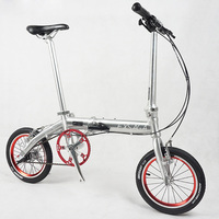 Bmxアルミ合金フレーム折りたたみ自転車道路自転車14インチ3スピードミニスーパーライトビーズペダル折りたたみ自転車ダブルvブレーキ