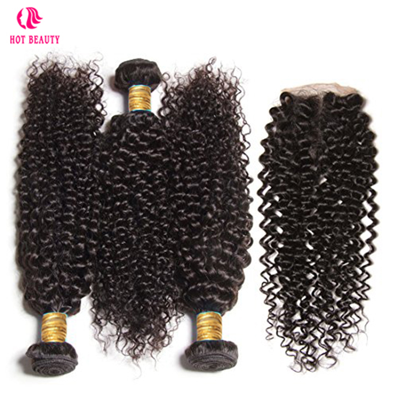 Chaude Beauté Cheveux Malaisiens Bouclés Armure de Cheveux Humains Bundles Avec Dentelle Fermeture Couleur Naturelle Jerry Curl Remy Cheveux Extension 4 pcs