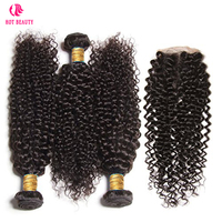 Hot Beauty Hair Malaysian Curly Weave Human Hair Bundles With Lace Closure Natural Color Jerry Curl Remy Hair Extension 4 PCS