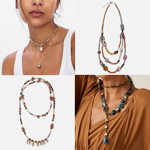 Best lady Trendy Bohemian Za Statement Necklace for Women Multi Color layer Pendant Collar Chokers Long Necklace Party Jewellery(China)