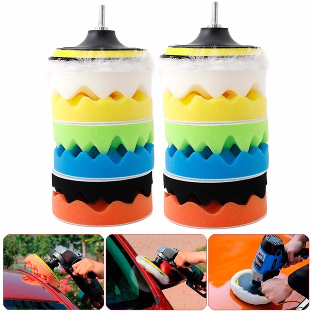 "New 8Pcs/Set 5"" 125mm Sponge Polishing Waxing Buffing Pads Kit M10/M14 For Auto Car Polisher Maintenance Tools C45"