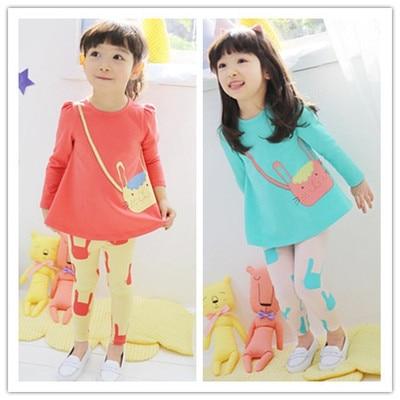 2017 New Spring&Summer Children Set New Girls Long Sleeve Clothing Set Cotton Cat Suit T-shirt+Pants 2pcs Set Kids Clothes