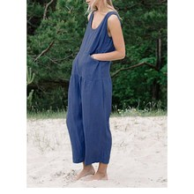 2019 Summer Women Sleeveless Jumpsuit Casual Solid Cotton Linen Rompers Loose Plus Size Wide Leg Jumpsuits plus size plain loose wide legs jumpsuit