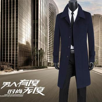 Teenagers casual woolen coat men trench coats long sleeves single-breasted overcoat mens cashmere coat thicken england blue