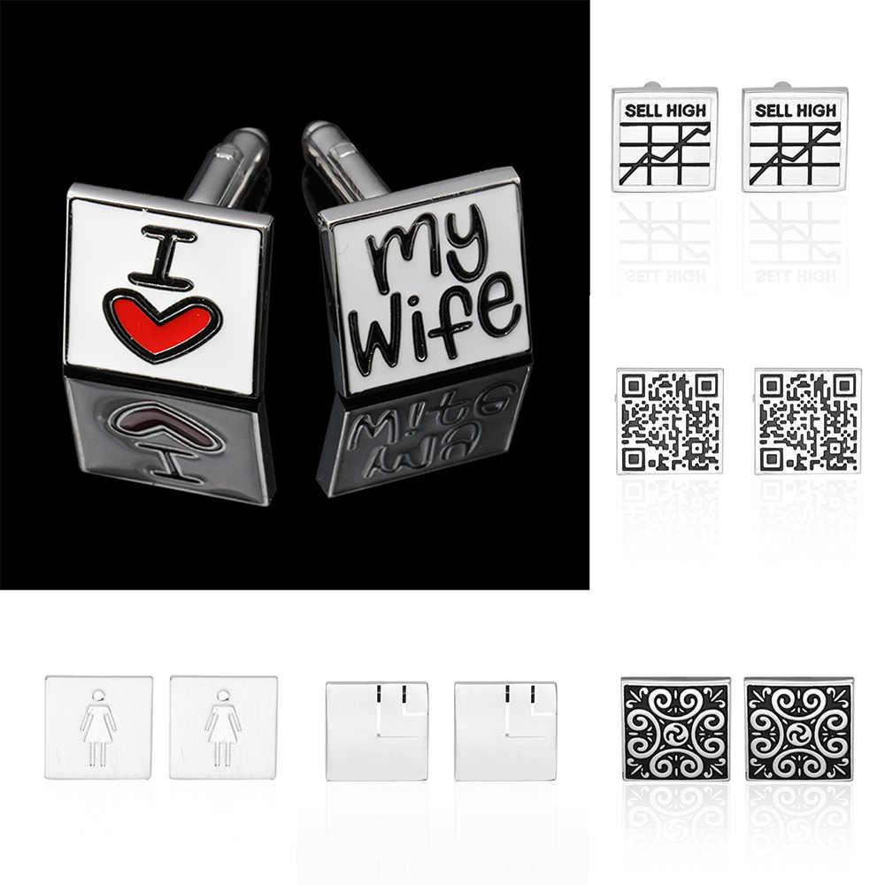 Новый стиль квадратная манжета КНОПКА 18 выбор стиля I Love My Life/qr-код/штрих-код стиль роскошные высококачественные ювелирные изделия мужские