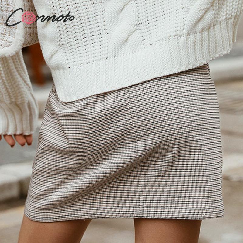 Image 4 - Conmoto 2019 Winter High Waist Skirts Women Button Casual Plaid Female Short Skirt Elegant Pocket Ladies Skirt-in Skirts from Women's Clothing