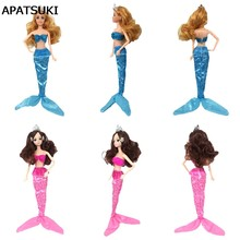 Sexy Cosplay Sea Princess Mermaid Clothes For Barbie Doll Bra & Long Tail Skirts For 1/6 BJD Doll Accessories(China)