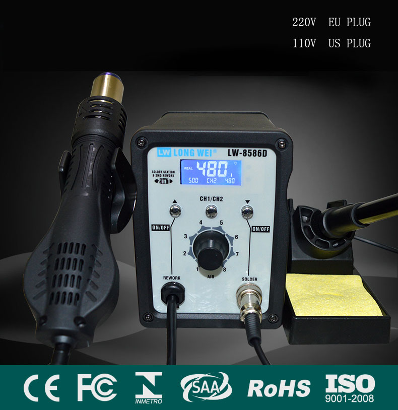 8586 110 220V USPpassing 750 W soldering stations 2in1 SMD Re workstation hot air G unsoldering