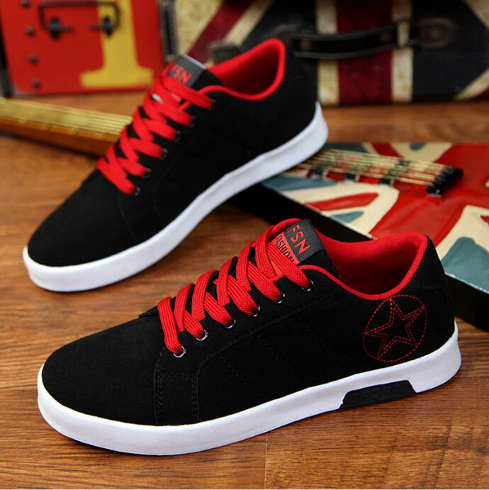 Black Red Casual Shoes For Men Fashion Recreational Shoe Male Canvas Man Winter 2017 New Fashion