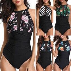 2019 lato Sexy kobiety jednoczęściowy Swimmingsuit push-up Sheer biustonosz usztywniany stroje kąpielowe Monokini Bikini stroje kąpielowe brazylijskie 2