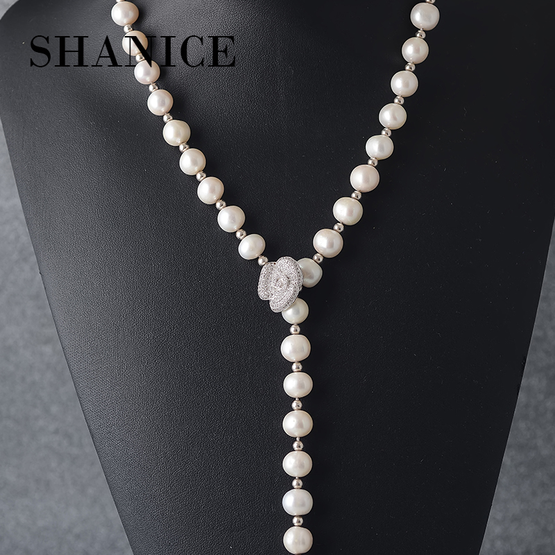 SHANICE véritable collier de perles bijoux en argent, perle d'eau douce avec CZ fleur long collier bijoux collier de mariée pour les femmes