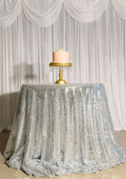 132 Inch Round Silver Sequin TableCloth Wedding Beautiful Champagne Sequin Table Cloth Overlay Cover