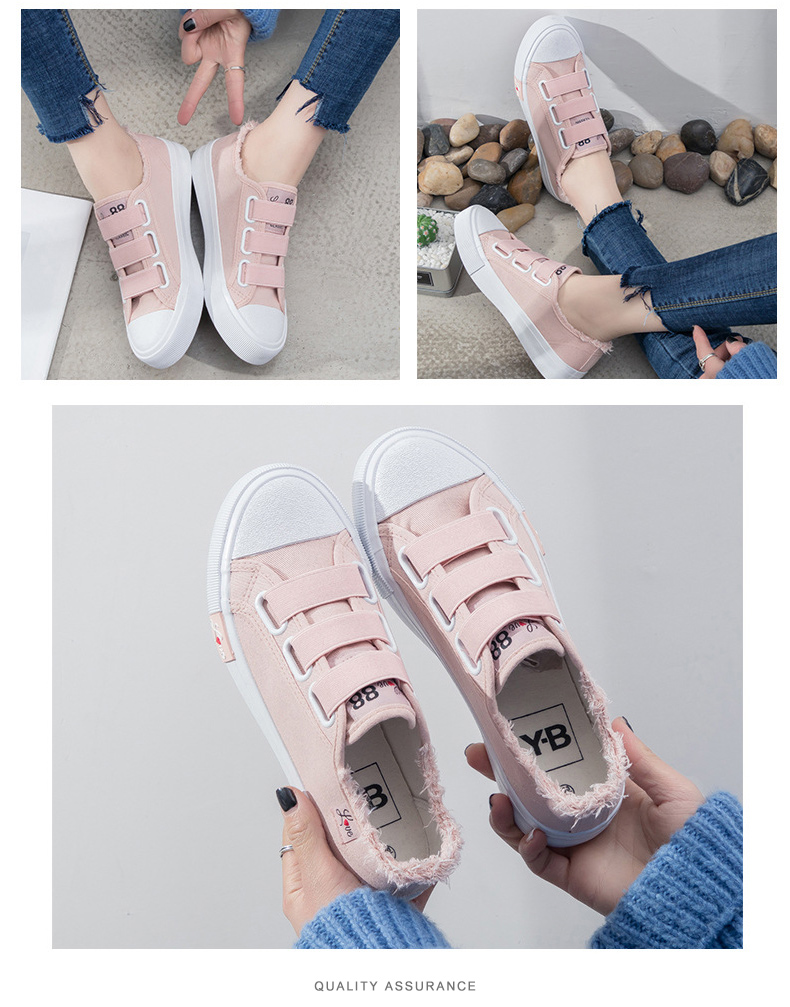 Sneakers Canvas shoes for Women fashion 2019 Solid Superstar Hook Loop Vulcanize shoes Girls Zapatillas mujer