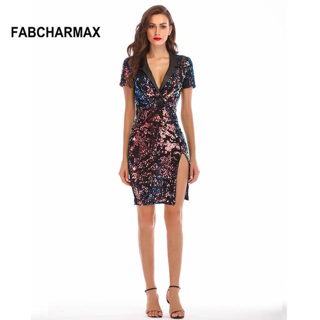 Fashion women shining black sequin dress notched lapel short sleeve side  slit sexy dress night club b6d45315a636
