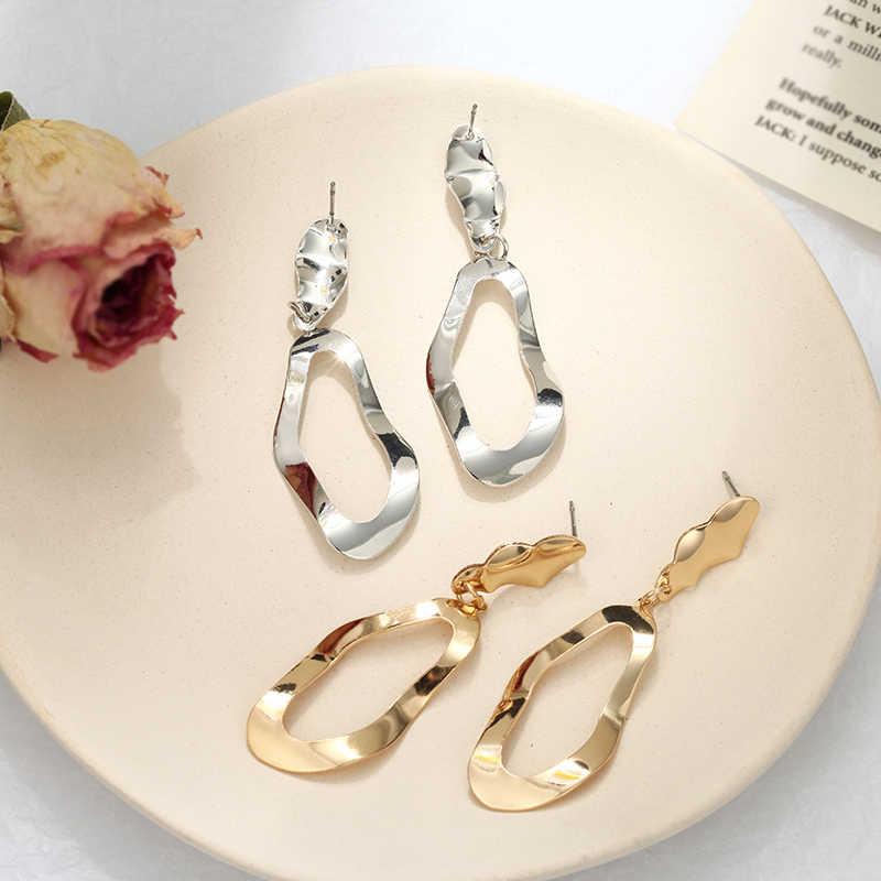 2019 New Trendy Drop Earrings For Women Golden Silver Color Irregular Hollow Dangling Earrings Gift For Friend Whlosale Jewelry