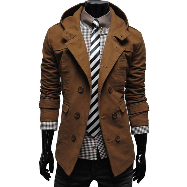 Fashion Men's Brand Jacket Turn-down Collar Double Breasted Jackets Coat Men Hoody Casual Winter Outerwear Overcoat W0