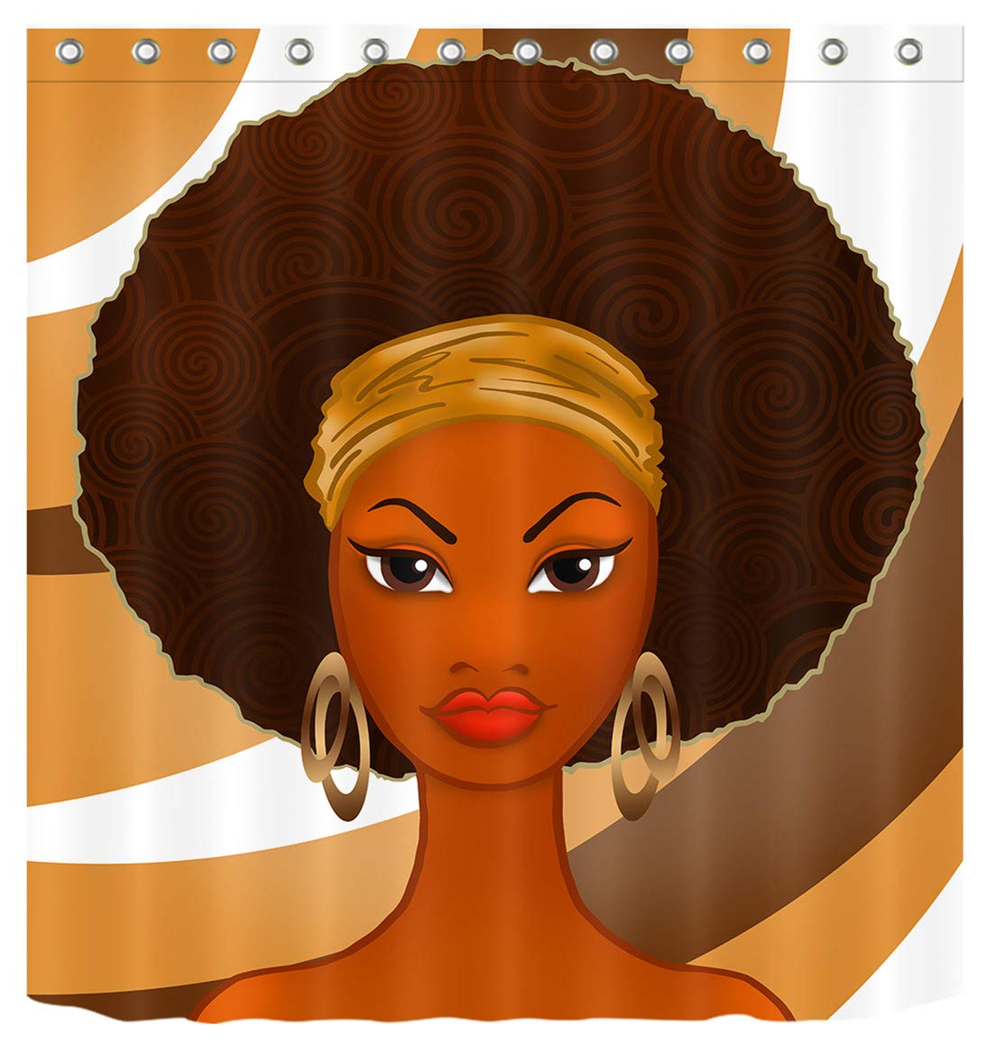 African American Girl Black Art Afro Shower Curtain for